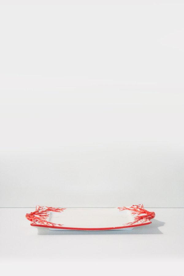 vassoio in ceramica da tavola made in italy con decorazioni in corallo rosso fatte a mano