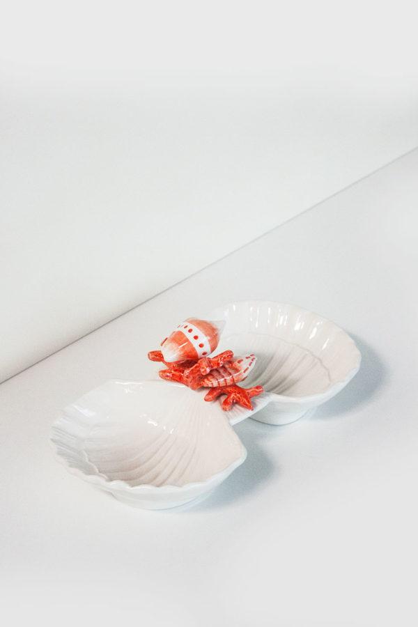 Antipastiera conchiglia in ceramica 2 posti motivo corallo rosso