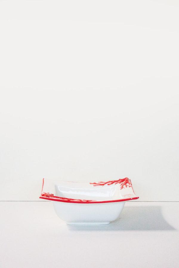 ciotola in ceramica da tavola made in italy con decorazioni in corallo rosso