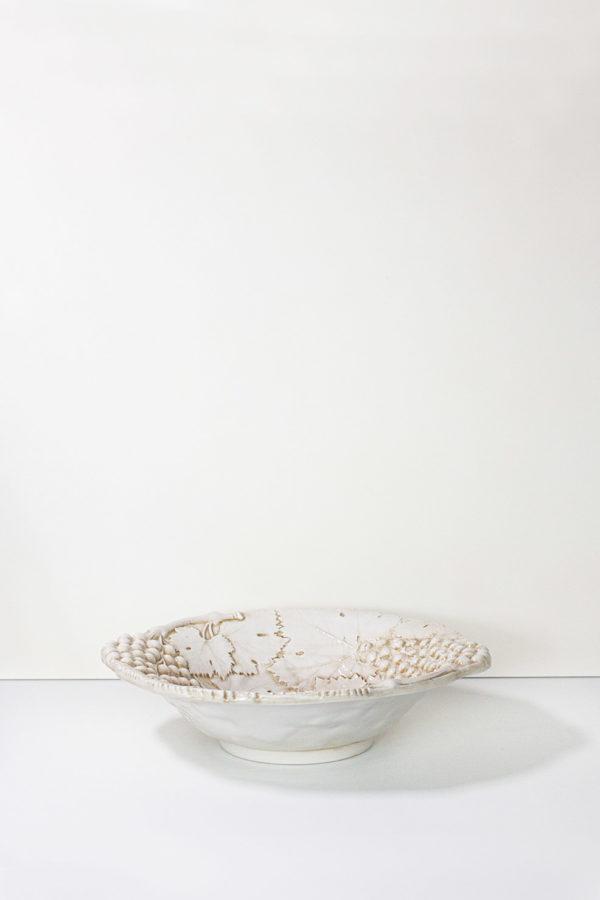 ciotola ceramica beige stile country keyhome store, 100% made in italy, decorata a mano