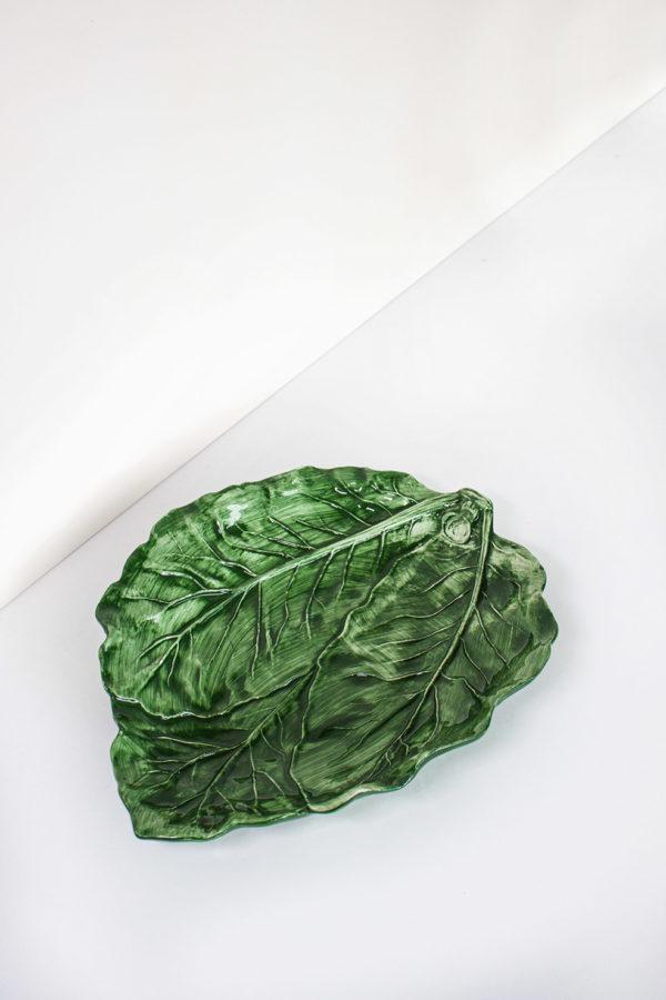 piatto in ceramica verde stile country fatto a mano