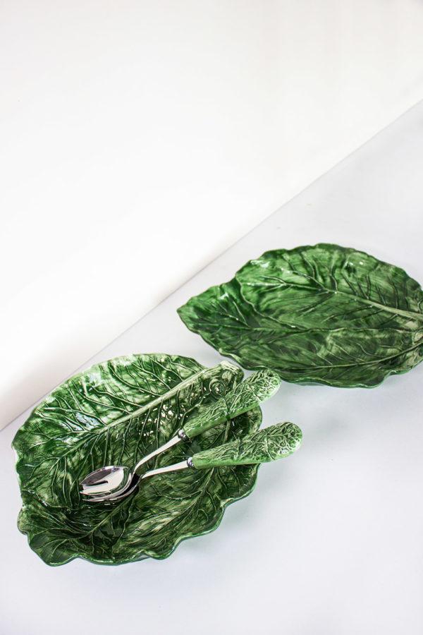 Posate in acciaio con manico in ceramica verde fatta a mano in stile country
