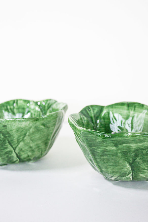 set ciotole in ceramica verde fatta a mano