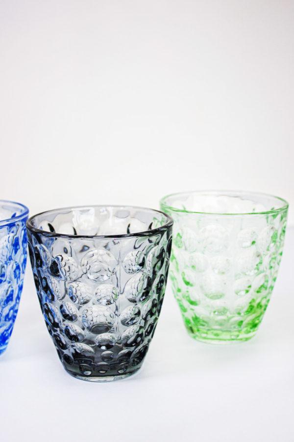 Set da 6 pezzi di bichhieri in vetro colorato decorati con bolle in bassorilievo