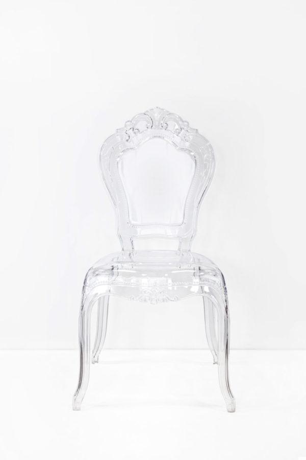Coppia di sedie in plexiglass senza braccioli in stile barocco