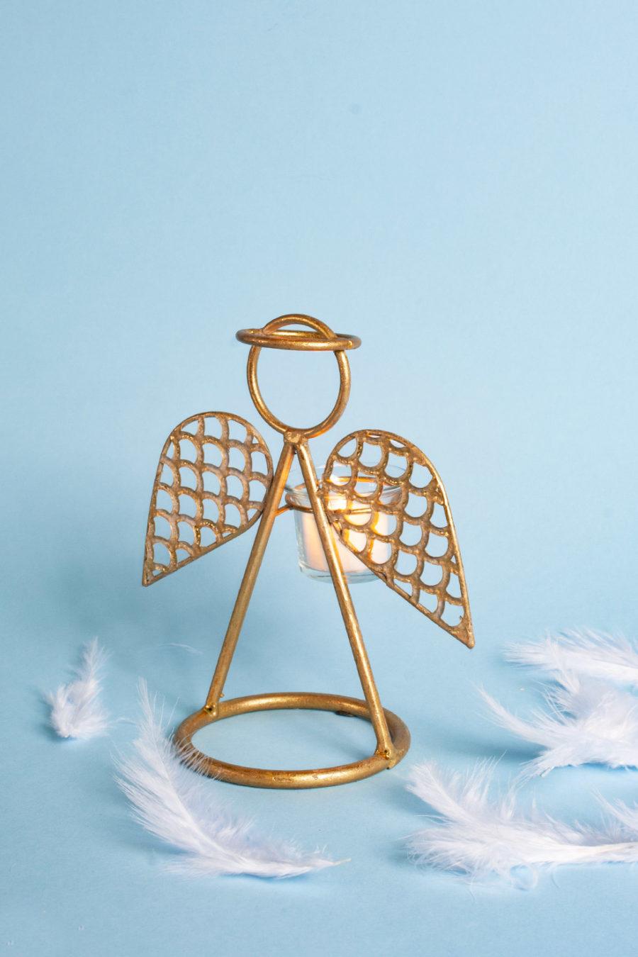 Angelo portacandele oro squamato