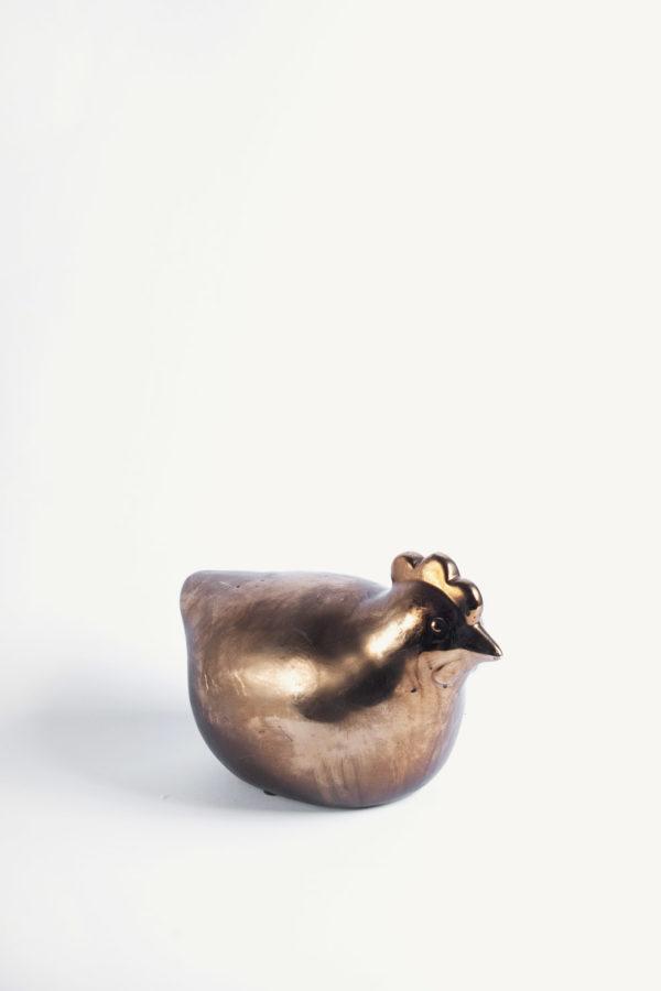 Chioccia in ceramica color oro