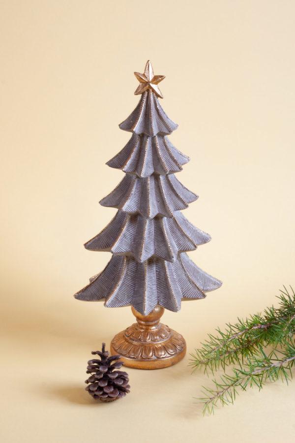 Alberello di Natale in resina con dettagli oro