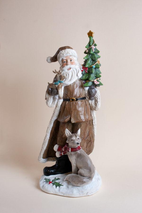 Babbo Natale con animali effetto legno intagliato